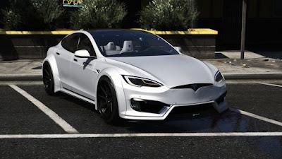 Download mod carro eletrico Tesla Model S Prior design para o jogo  GTA 5. Muito bem detalhado de interior e exterior , Teto panorâmico sem bugs.