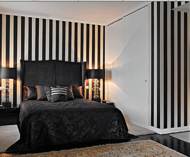 Cool Bedroom Design Ideas Black And White Striped Bedroom