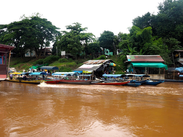 Boat stop on the Laos side of the Mekong river border