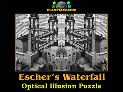 The Escher's waterfall optical illusion puzzle