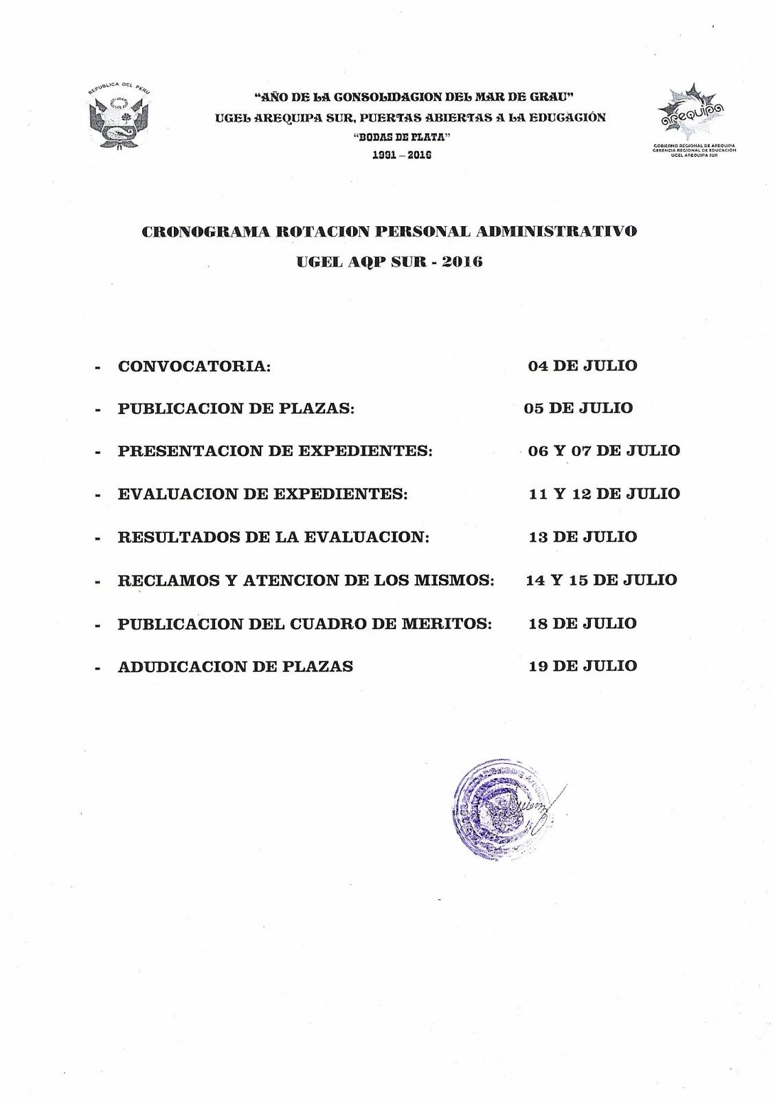 Relaci n de plazas para rotaci n de personal for Plazas vacantes concurso docente 2016