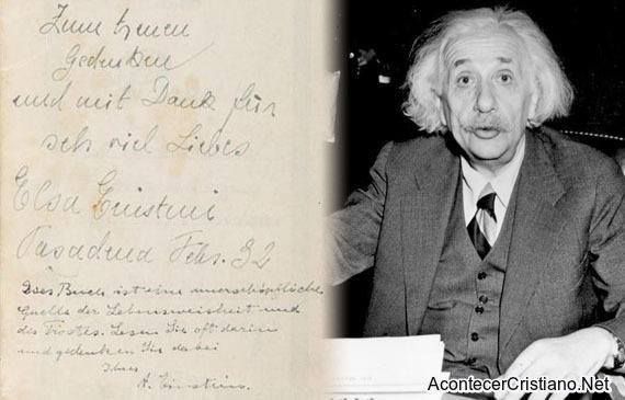 Dedicatoria de Albert Einstein en una Biblia