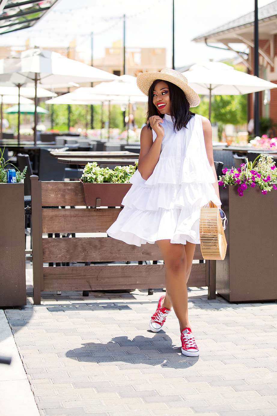 casual style,white frill oversize shirt dress, www.jadore-fashion.com