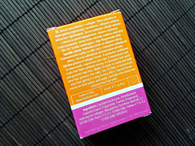 Bioelixire, Macadamia Oil + Collagen - Serum do włosów, opis opakowania