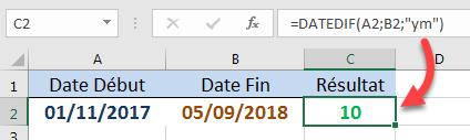 Calculer le nombre de mois en ignorant les jours et les années des deux dates DATEDIF