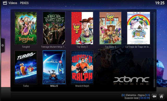 Shorcuts main menu KODI
