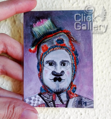 A Creative Journal of an Artist: ACEO Clown Portrait #43