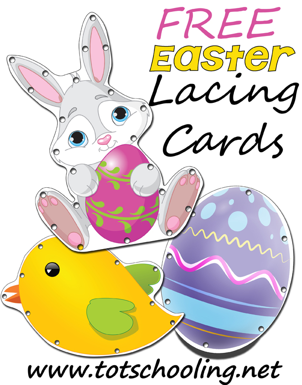 FREE printable Easter lacing cards for toddlers and preschoolers to practice fine motor skills, concentration, and hand-eye coordination.