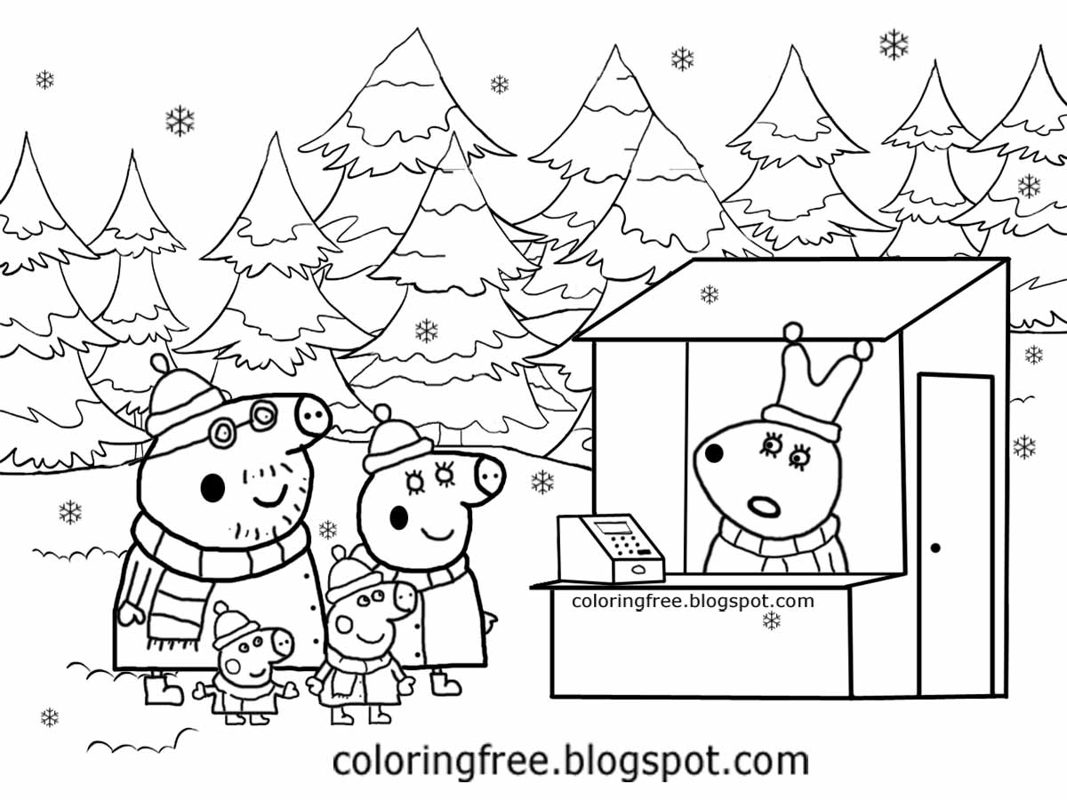 Winter Woodland Landscape Miss Rabbit Xmas Tree Shop Christmas Peppa Pig Coloring Pages For Children