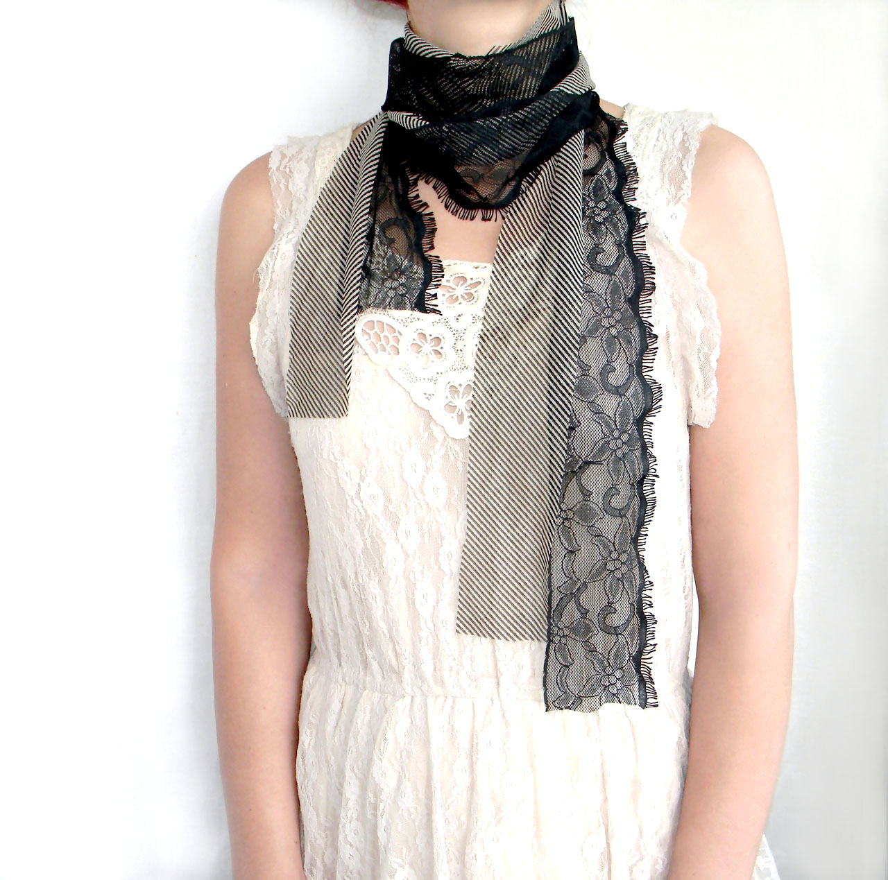 Goth Lolita Convertible Accessory Wristlet Scarf Cuff and Waist Belt, Wrapped Lace and Tulle