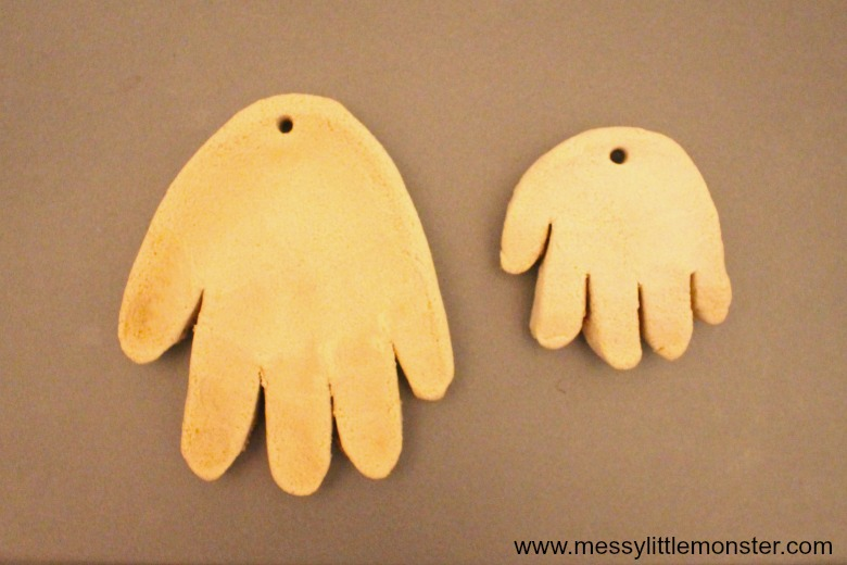salt dough handprint ornament - santa craft