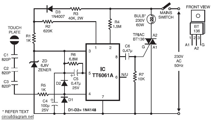 220V AC Lamp Touch Dimmer ~ electronic-circuit