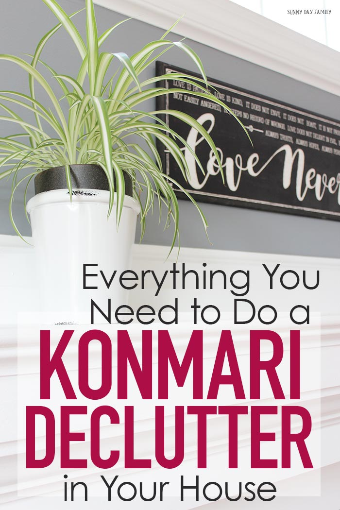 A step by step guide to Marie Kondo's Konmari decluttering method to create a clean and tidy home. Ready to try the Konmari method and you're not sure where to start? Here's everything you need to do Marie Kondo's tidying method for a clean and happy home! #declutter #konmari #organizedhome #cleanhome