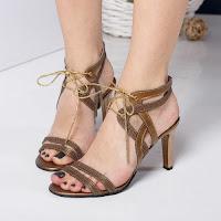Sandale Piele Aguilera maro cu toc gros • modlet