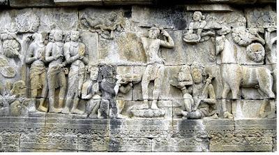 Relief Borobudur peninggalan Hindu - Budha - pustakapengetahuan.com