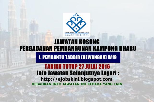jawatan kosong Perbadanan Pembangunan Kampong Bharu 2016