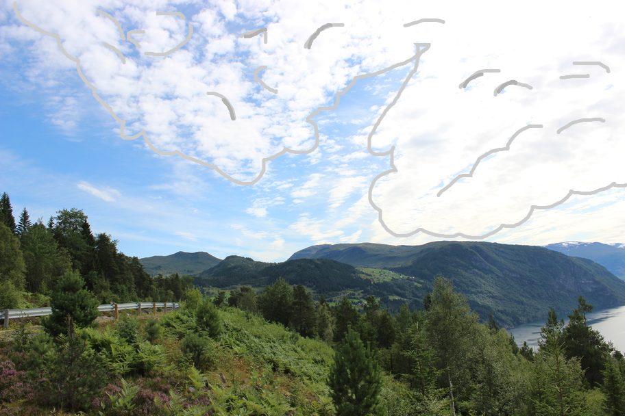 The Norwegian Fjords with Cartoon Clouds drawn on