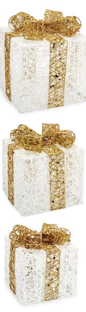 Nordstrom Melrose Gifts Light-Up Glitter Gift Boxes(set of 3)