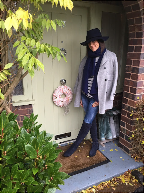 My Midlife Fashion, Hush striped jumper, zara handmade wool coat, clarks caddy belle boots, zara cashmere scarf, skinny jeans