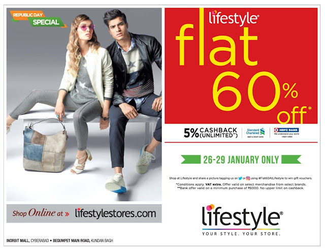 Flat 60% off sale in Lifestyle | January 2017 discount offers |  Republic day