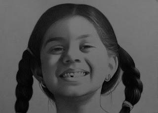 Smiley Girl Pencil Sketch