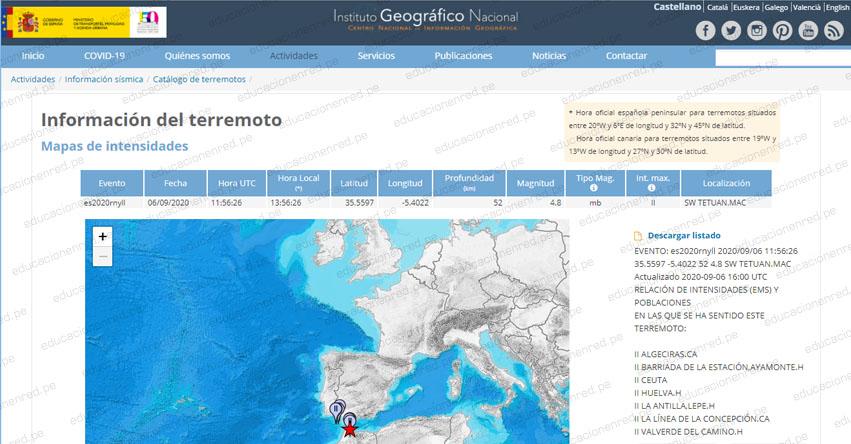 Temblor en Marruecos y España de Magnitud 4.8 (Hoy Domingo 6 Septiembre 2020) Sismo Epicentro - Tetuan - IGN - www.ign.es