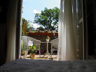 Balkon z akacjami w tle.