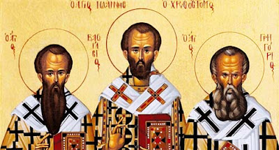 Icon of the Three Hierarchs of Eastern Christianity: Basil the Great (left) John Chrysostom (center) and Gregory the Theologian (right)