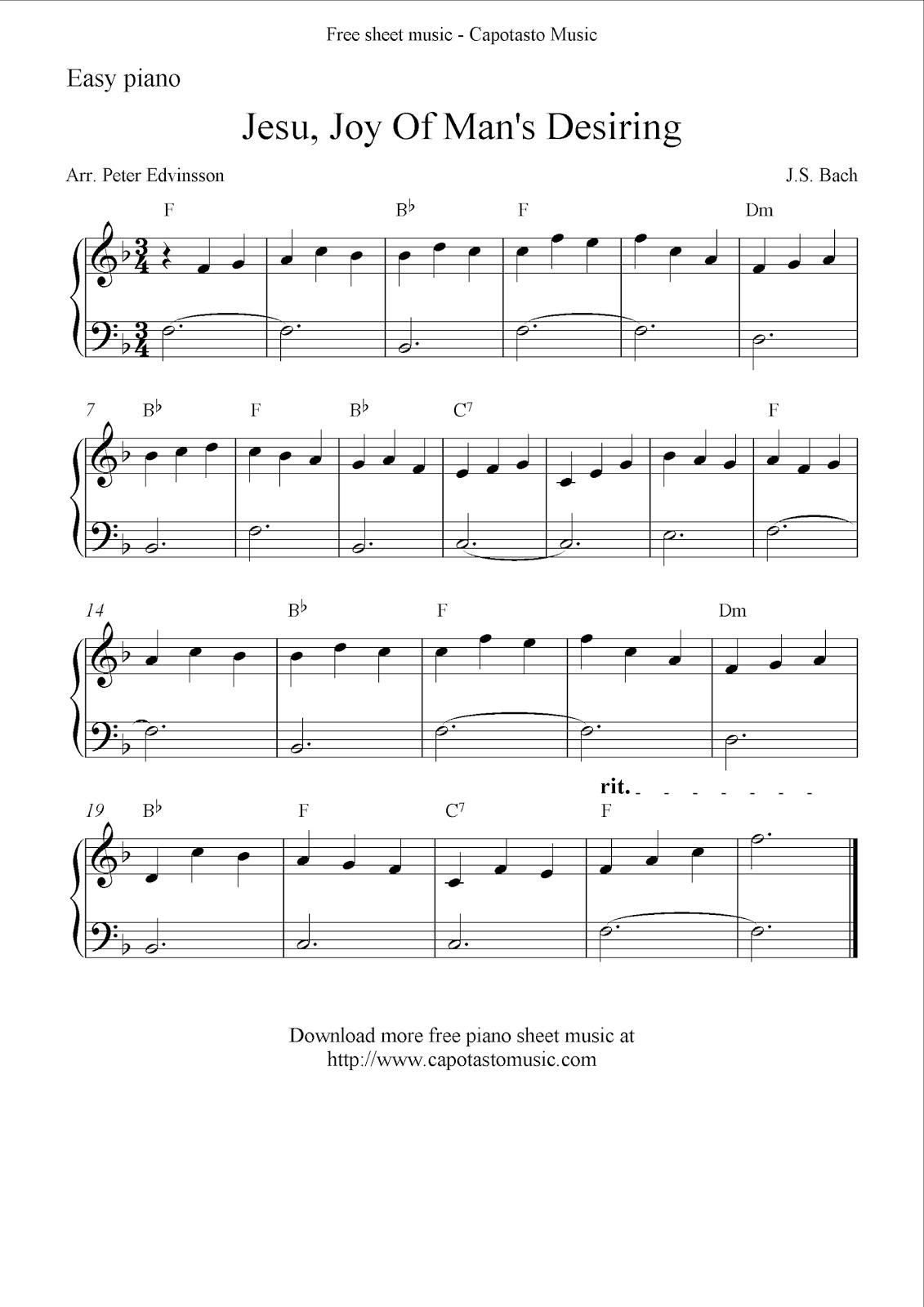 Free Easy Piano Sheet Music Solo Jesu Joy Of Man S Desiring