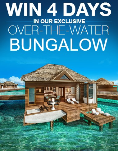 Sandals is giving away a 4-day, 3-night Luxury All-Inclusive vacation to Sandals Royal Caribbean where the lucky winner and their guest will stay in one of their exclusive Over-The-Water Bungalows!
