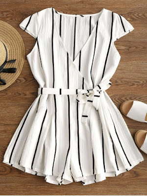 Plunging Neck Striped Belted Romper - White