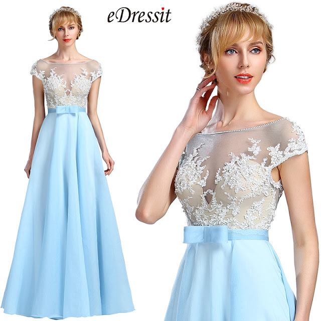 cap sleeves light blue beaded evening gown