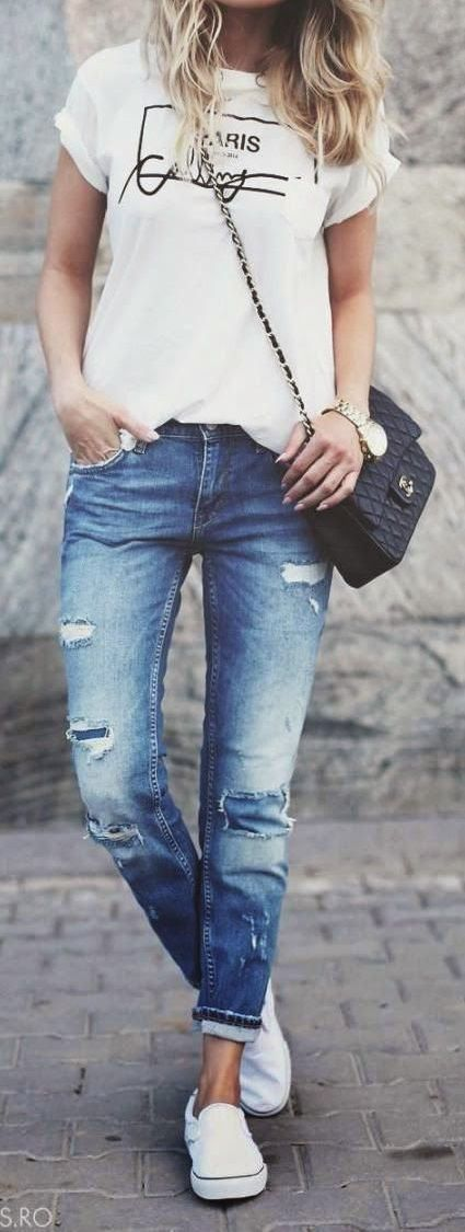 street style obsession: top + bag + rips