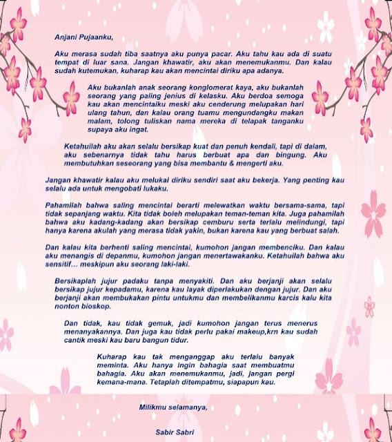 Contoh Surat Cinta Buat Nembak Pujaan Hati Terbaru Format Word