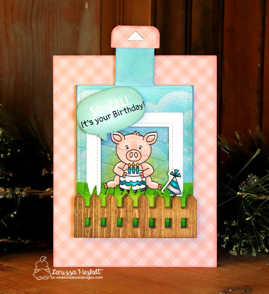 Pig Birthday Magic Picture reveal card by Larissa Heskett | Oink Stamp Set, Fence Die, Land Borders Die Set and Speech Bubbles Die Set by Newton's Nook Designs #newtonsnook #handmade