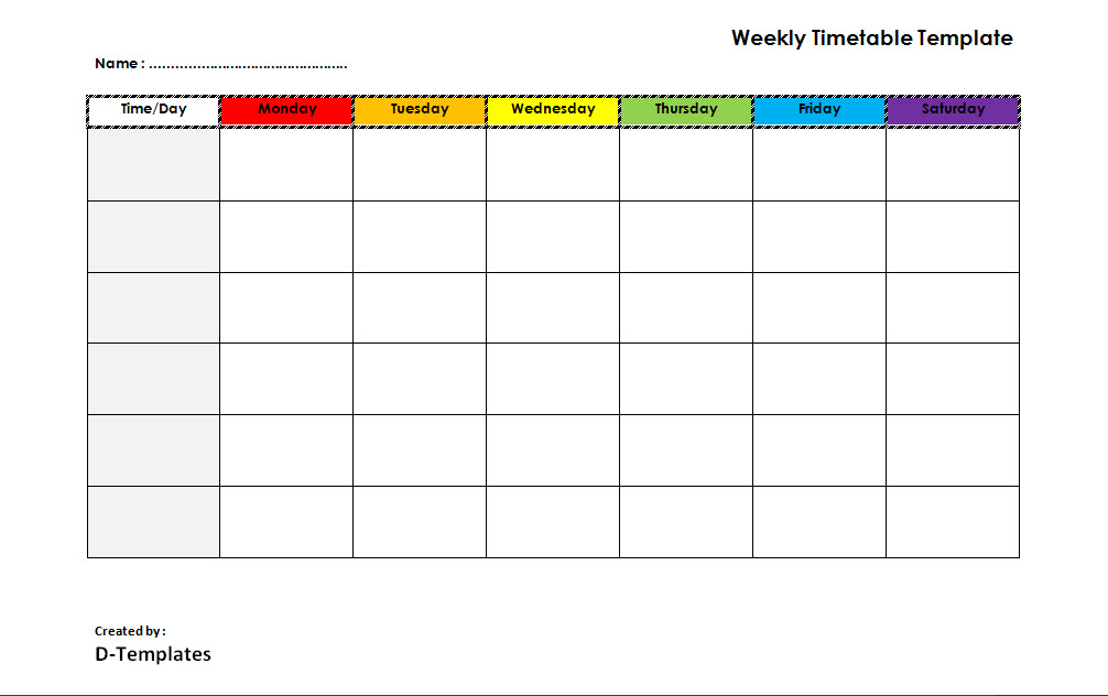 Weekly Timetable Template Word - Free Word Format - D-Templates