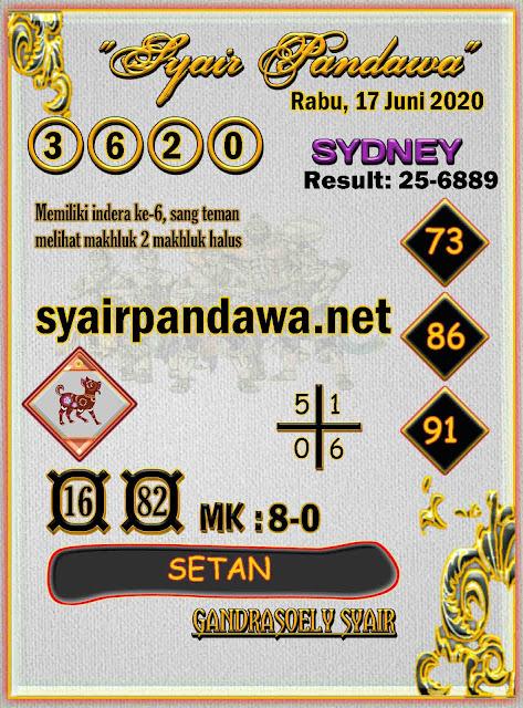 Syair Pandawa Sydney rabu 17 juni 2020