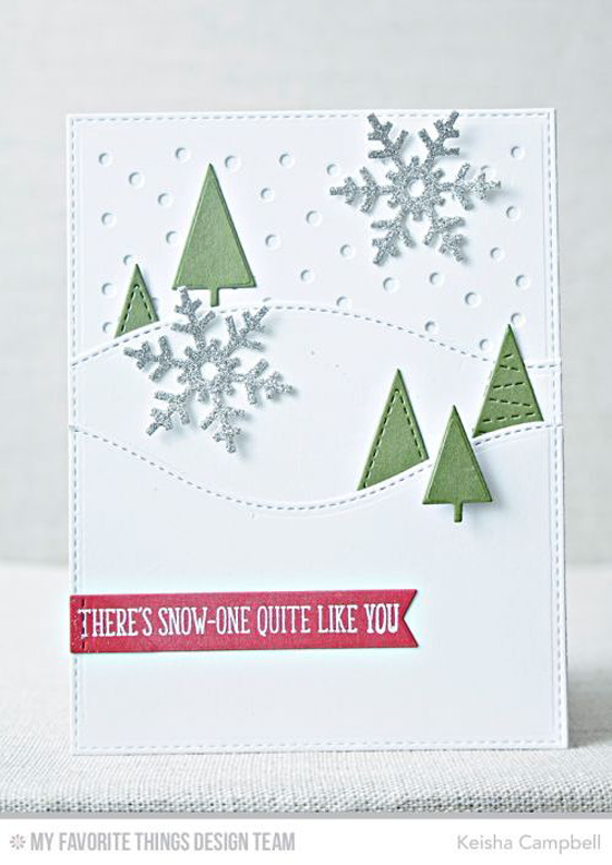 Handmade card from Keisha Campbell featuring Cooler with You stamp set, Winter Trees, Hit the Slopes, Stitched Sentiment Strips, Let It Snowflake, and Snowfall - Vertical Die-namics #mftstamps
