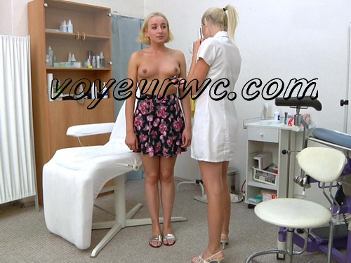 Patient and doctor in the gynecologist's office. Gynaecological Examination. Pelvic exam room
