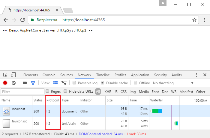 Chrome Developer Tools Network Tab - HttpSysServer responding with H2