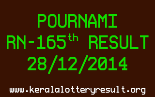 POURNAMI Lottery RN-165 Result 28-12-2014