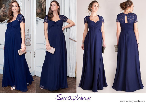 Princess Stephanie wore Seraphine Navy Blue Silk and Lace Maternity Evening Dress