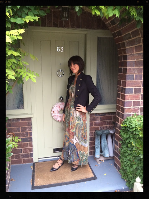 My Midlife Fashion, Military Jacket, Boho Maxi Dress, Ghille Lace Ups