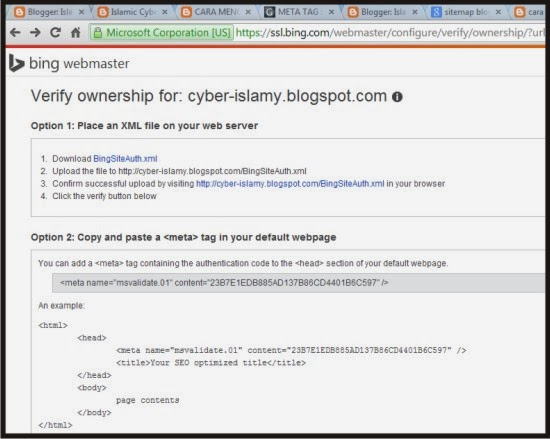 verifikasi meta tag bing webmaster tools