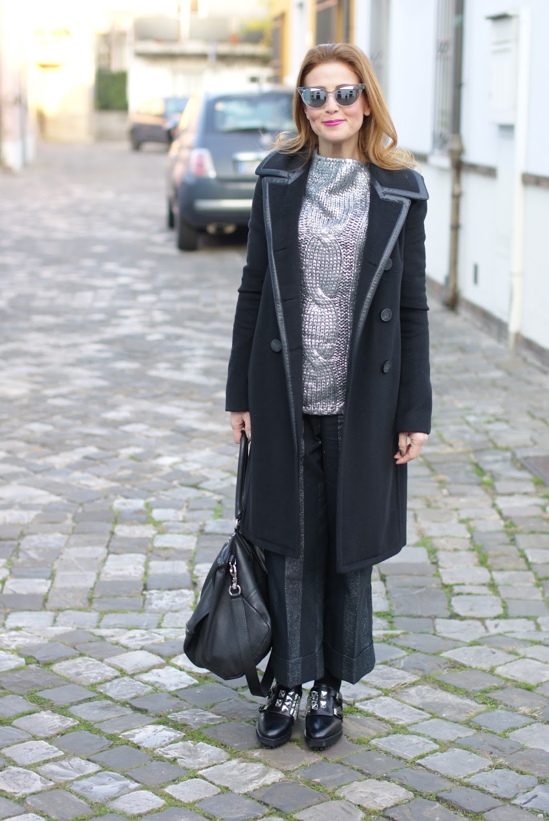 Balenciaga black coat, striped culottes and Le Silla masculine shoes on Fashion and Cookies fashion blog, fashion blogger style
