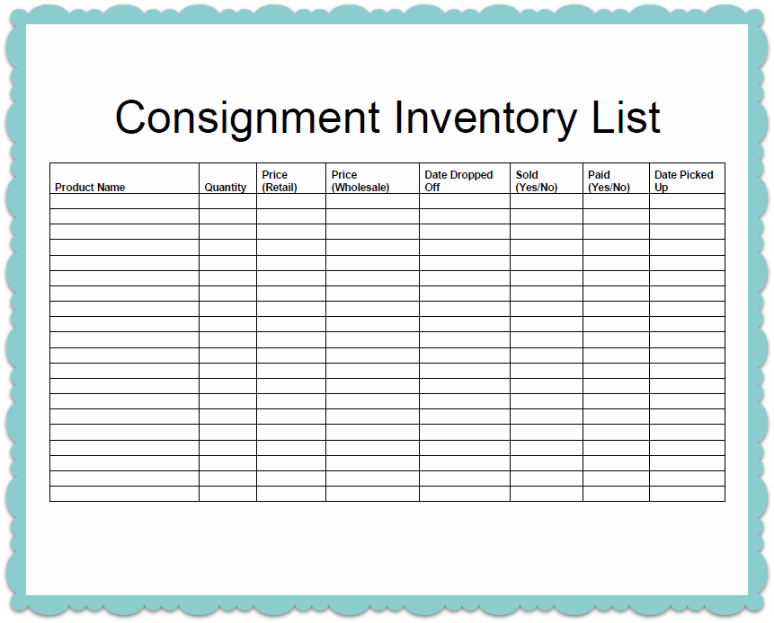 free consignment stock agreement template - search results for chemical inventory list template