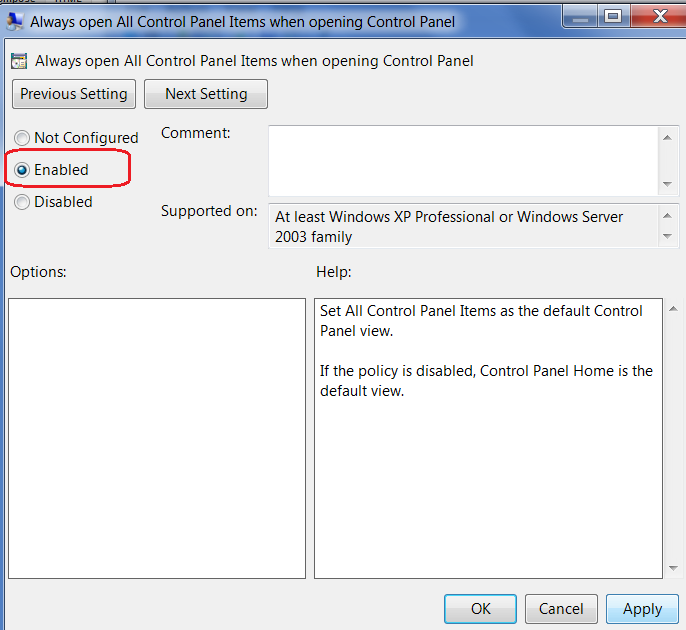 Disable Control Panel Option in Window 7