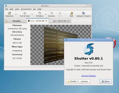 Una vez que instalamos shutter podemos invocarlo desde la consola, o a traves de su acceso directo