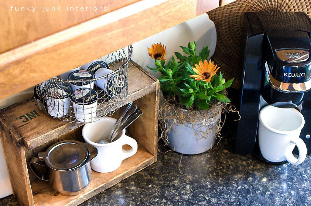 An Old Crate And A Fry Basket Coffee Pod Storage With