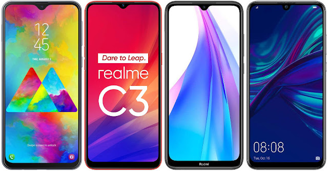 Samsung Galaxy M20 vs Realme C3 vs Xiaomi Redmi Note 8T 32 GB vs Huawei P Smart 2019